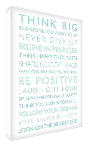 Feel Good Art Gallery verpackt Box Leinwand, die Solide Front Panel (60x 40x 4cm, weiß/mint grün, Positive von die Inspiration Sammlung Werden) -