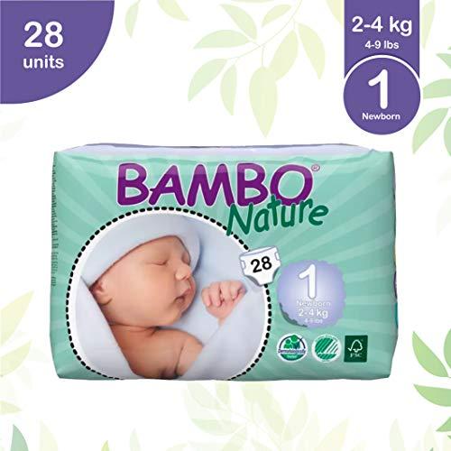 Bambo Nature Abena Recién nacido Tamaño 1 (4-9 lbs / 2-4 kg) Pañales ecológicos, 28 piezas