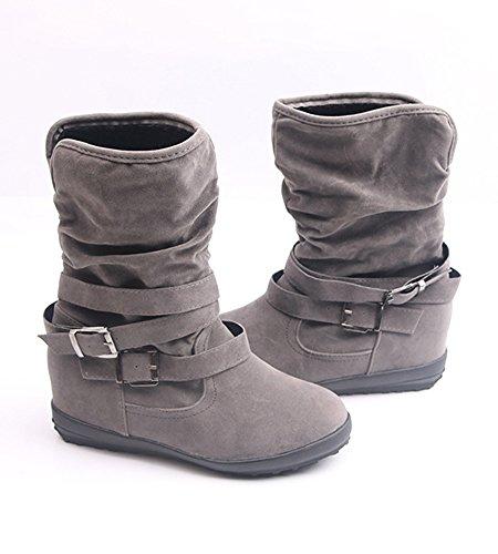 Minetom Donna Eleganti Camoscio Stivali Autunno Invernali Peluche Fibbia Stivaletti Di Caviglia Moda Boots Scarpe Tacchi Bassi Grigio