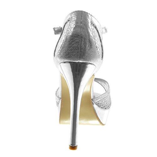 Angkorly Scarpe Moda Sandali Decollete con Tacco Stiletto Cinturino Donna Fishnet Strass Lucide Tacco Stiletto Alto 11.5 cm Argento