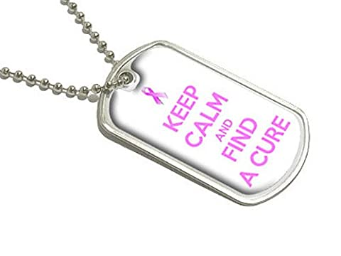 Keep Calm and Find A Cure - Breast Cancer Awareness Pink Ribbon - Military Dog Tag Luggage Keychain