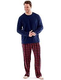 hombre polar suave ropa Cómoda Pijama Largo Manga Larga Invierno Cómodo Microfleece Azul Marino, Rojo & Azul M L XL 2x
