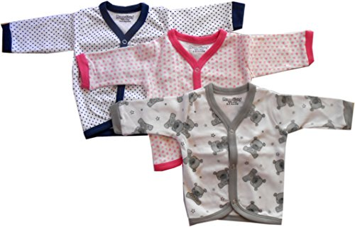 NammaBaby Cotton Front Open Full Sleeves vest- Tshirt -MULTI CUTE Set Of 3 (3-6 Months) M SIZE
