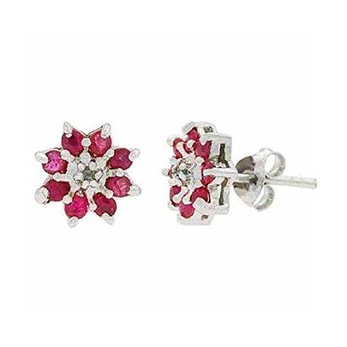 Blumen Ohrstecker / Ohrringe mit Rubin und Diamanten, Sterling Silber (Rubin-diamant-ohrringe)