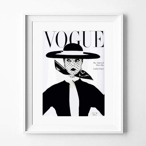 aw photograph Plakat Poster Vintage Vogue schwarz, Mode-Cover, Mode Dekoration für Das Haus (30 x 40 cm) Vintage Vogue-fotos