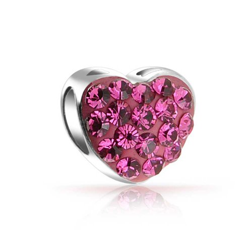 Bling Jewelry 925 Silber rosa Kristall ich Liebe dich Herz Perle Charme