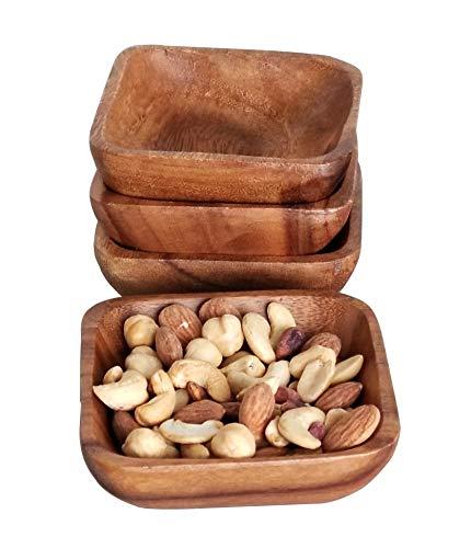 Cuenco pequeño de madera para servir, 100{39de3a7c4c33bbc395f6a3d54031e0b970a734666fd10d719d6fa08581c966a2} natural, madera de acacia, cuadrado