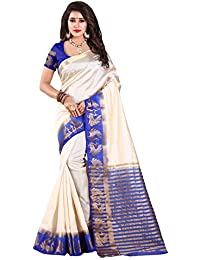 Nirja Creation Cotton Silk Saree With Blouse Piece (NC-OD-DMOR-01_White_Free Size)