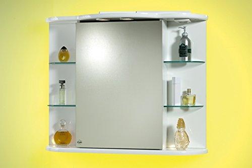 Specchio specchiera per bagno contenitore da 88x66hx27 laccato bianco con mensole in vetro - Specchiera bagno amazon ...