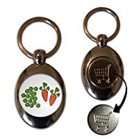 Peas and Carrots - £1/€1 Metal Shopping Coin Token Key Ring