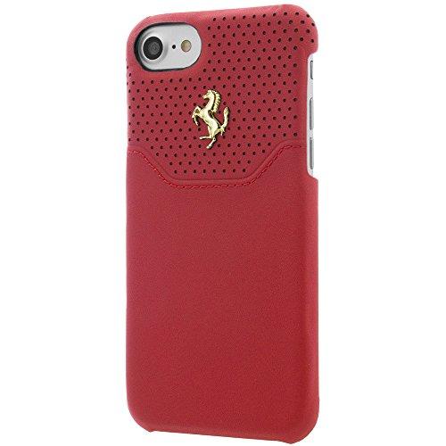Ferrari Coque rigide pour Apple iPhone 7, en cuir véritable rouge/argent