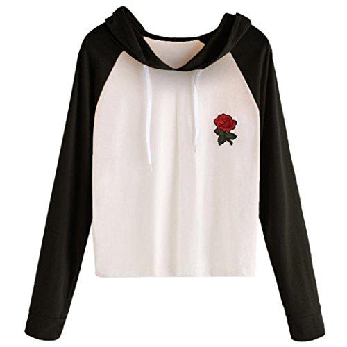 WOCACHI Damen Sommer T-Shirts Frauen Sommer Eine Rose Stickerei Bedruckte Bluse Kurzarm O-Ausschnitt Tops T-Shirt (XL/38, (Älteren Für Die Kinder Kostüme Baby)