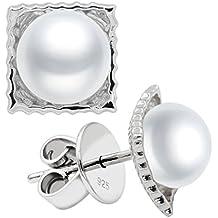 Pendientes de Mujer de Perlas Cultivadas de Agua Dulce de 8-9 mm Botón Secret