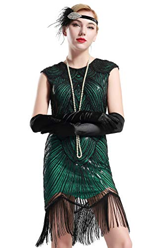 BABEYOND Damen Kleid voller Pailletten 20er Stil Runder Ausschnitt Inspiriert von Great Gatsby Kostüm Kleid (Grün, XS (Fits 70-74 cm Waist))