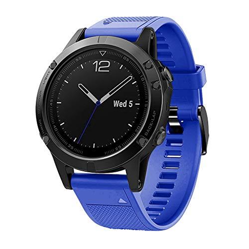 Waotier für Garmin Fenix 5 Quickfit Armband TPU Silikon Armband für Garmin Fenix 5X Plus Armband für Garmin Fenix 3 HR Kompatibel für Garmin Fenix 5X / 5X Plus/Fenix 3/3 HR Armband (Blau)