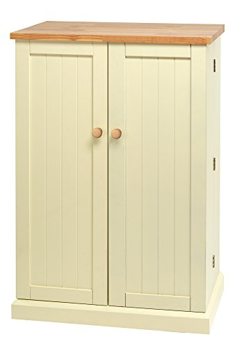 Traditional Buttermilk Multi Purpose Country Kitchen Freestanding Wooden Pantry Cabinet