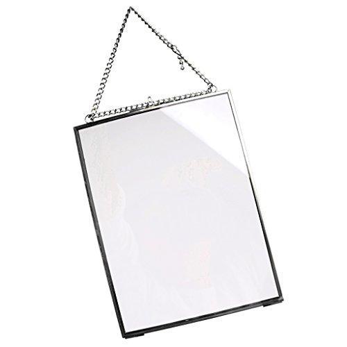 warz vergoldet Messing Glas Bilderrahmen zum Aufhängen Hochformat Decor mit Kette, 5x7in ()