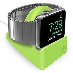 Orzly - Compact Ständer für Apple Watch - Kompatibel mit Nachttischmodus - GRÜNER Standfuß mit integriertem Kabelführungsschlitz (38mm & 42mm & 40mm & 44mm kompatibel)