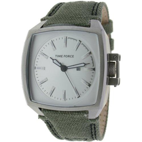 Orologio Time Force da uomo. Acciaio Cinturino Tessuto Calendario. Verde e argento tf-3054m07
