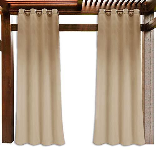 PONY DANCE Garten Vorhänge Biscotti Beige - Outdoor Gardinen Blickdicht Terrasse Vorhang Pavillon Gartenlaube Thermo Gardine Sonnenlicht Blockieren Vorhänge Wasserdicht, 1 Stück H 243 x B 132 cm