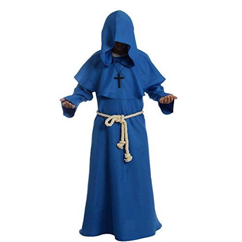 BLESSUME Priester Mönch Kostüm Robe Mönch Mittelalterliche Kapuze Kapuzenmönch Renaissance Robe...