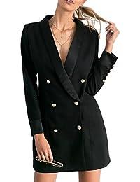 Fanvans Damen Eleganten Blazer Langen Ärmel Zweireiher Midi - Anzug Jacke Mantel
