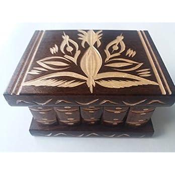 Neu nettes handgemachtes braun Holz geheimnis magisches Zauber Puzzle spiel schmucksachetulle Ring Halter kasten Geschenk spielzeug für Kinder
