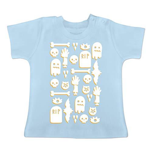 Anlässe Baby - Halloween Totenkopf Mosaik - 1-3 Monate - Babyblau - BZ02 - Baby T-Shirt Kurzarm