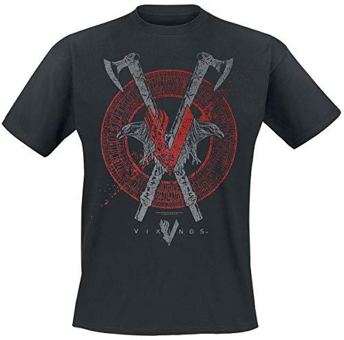 Vikings Axe & Raven Camiseta Negro XL