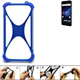 K-S-Trade Bumper für Phicomm Passion 4 Silikon Schutz Hülle Handyhülle Silikoncase Softcase Cover Case Stoßschutz, blau (1x)