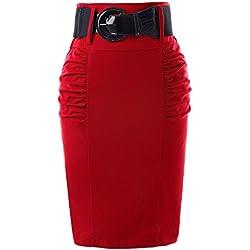 Kate Kasin Falda Elegante para Mujer, Estilo Vintage, Estampado Floral, Bodycon Midi GF610 Red(kk0271-3) 44