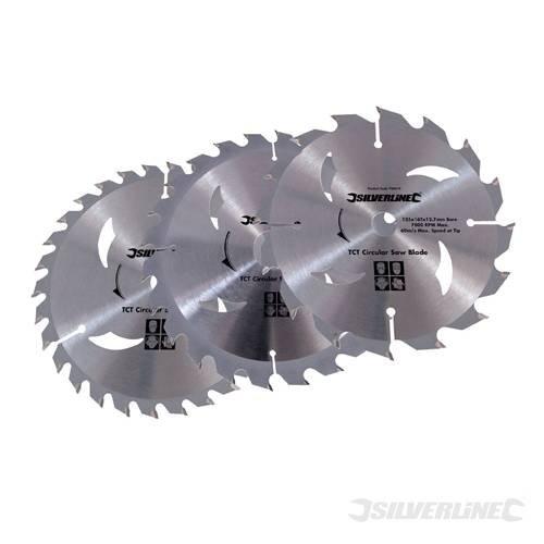 Power Tool Accessories Kreissägeblätter TCT Kreissägeblätter 3pk 160x 30–20, 16, 10mm Ringe geeignet für Hartholz, Weichholz, Spanplatten und andere Verbundwerkstoffe. gehärtet und verstärkt für längere Lebensdauer. 16, 24und 30Zähne.