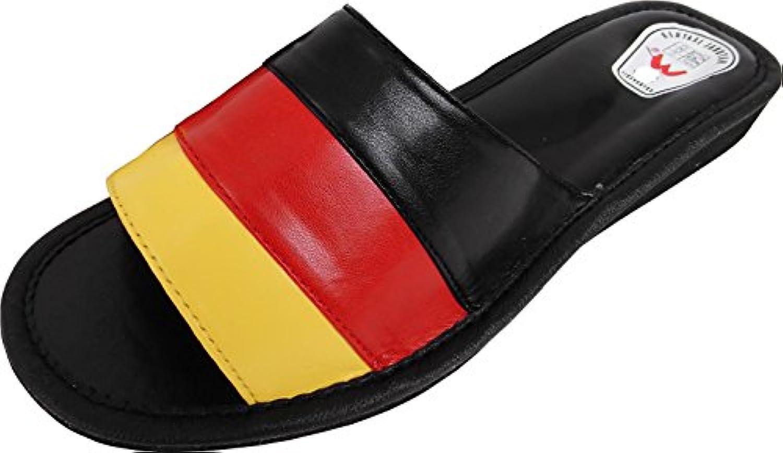 Pantolette - Hausschuhe - Latschen Gr.35 36, 37, 38, 39, 40, 41, 42 Kunstleder ABER weich&leicht -* Schwarz-Rot-Gelb*