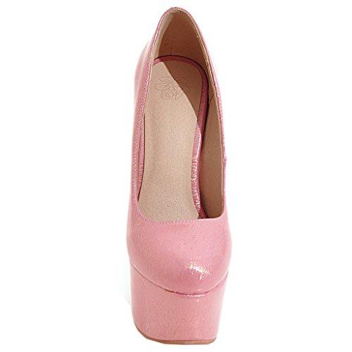 ENMAYER Frauen Lackleder Sexy Plattform Stiletto Super High Heels Runde und Peep Toe Pumps Slip auf Hochzeitskleid Court Schuhe 34 B(M) EU Rosa#32