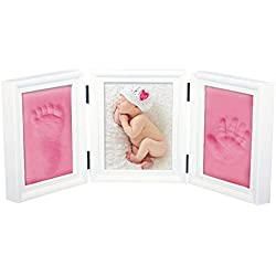 JZK Precioso kit marco huella manos y pies bebé recuerdo fotográfico huellas bebé no tóxico seguro arcilla premium y marcos madera para niño y niña perfecto bautismo baby shower regalo (rosa arcilla)