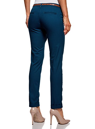 oodji Ultra Donna Pantaloni Chino con Cintura Blu (7901N)