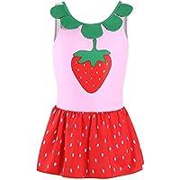 Trajes de baño Lindo Bebés del niño de la Polca Lindo de una Pieza con Falda de Traje de baño de la Fruta para Las niñas Niños (Color : Pink, Size : L)
