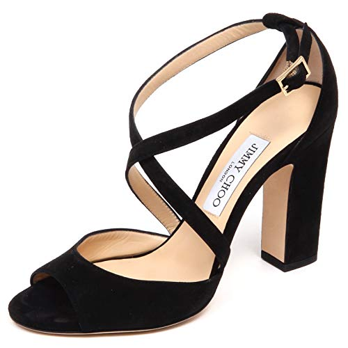 F0850 Sandalo Donna Black JIMMY CHOO Carrie Scarpe Suede Sandal Shoe Woman [38.5]