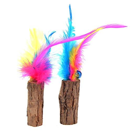 Everpert 2pcs cat pet teaser le bacchette di legno piume stick fun sound toys w/catnip bell