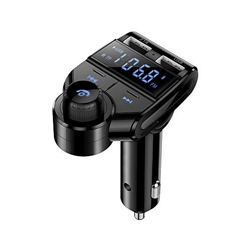 [Neue Version] Bluetooth FM Transmitter, MOREFINE KFZ Radio Adapter Freisprecheinrichtung USB Auto-Ladegerät (5V / 2.1A) Car MP3 Musik Player Kit mit 2 USB Ladegerät Micro SD/TF Kartensteckplatz AUX Kabel Eingang Mic. (Das Aux-kabel Kfz-kit)