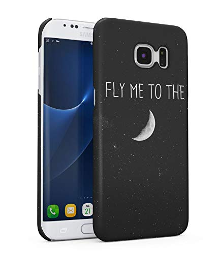 Hülle Hardcase Kompatibel mit Samsung Galaxy S7 Edge Fly Me To The Moon Galaxis Kosmos Mond Universum Sterne Space Stars Galaxy Planet Solar System Quote Zitat Travel eng Anliegendes Dünnes Handyhülle (Ausschnitte Solar System Planet)