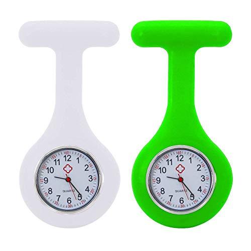 tumundo Schwestern-Uhr Puls Anstecknadel 2er Set Kittel Brosche Silikon-Hülle Quarz Damen-Schmuck Krankenschwester Pfleger-Uhr, Farbe:weiß + neongrün