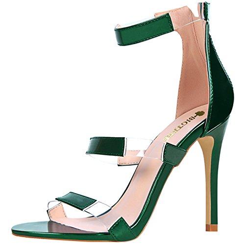 Oasap Women's Open Toe Hollow out Stiletto Heels Sandals Fuchsia