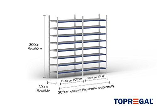 2m Ordnerregal 300cm hoch / 30cm tief mit 8 Ebenen inkl. Stahlböden, Fachlast: 100kg