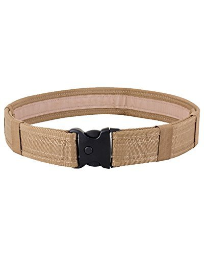 MILITARY STYLE SWAT BELT ROBUST NYLON SAND DESERT BEIGE QUICK RELEASE BUCKLE MENS UP TO 40 ADJUSTABLE WAIST SECURITY POLICE BELT HIKING by Kombat UK