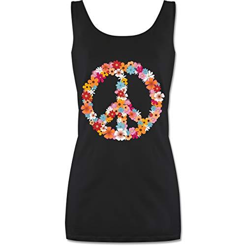 Statement Shirts - Peace Flower Power - L - Schwarz - P72 - Tanktop für Damen und Frauen Tops