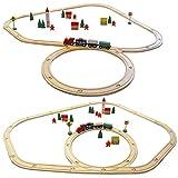 Eyepower 48 pezzi Trenino di legno set incl binari accessori estensibile Treno giocattolo per bambini