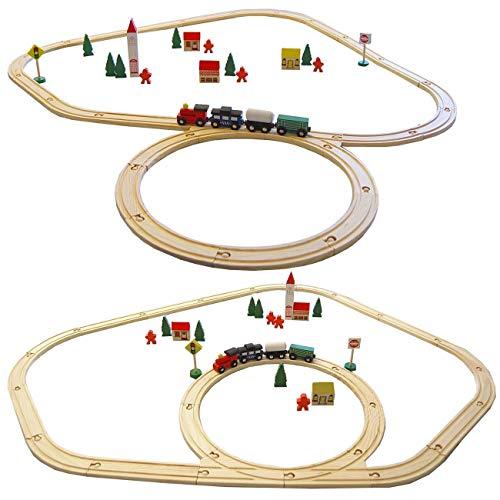 Eyepower 48 pièces Train en bois set jouet incl accessoires rails de guidage extensible