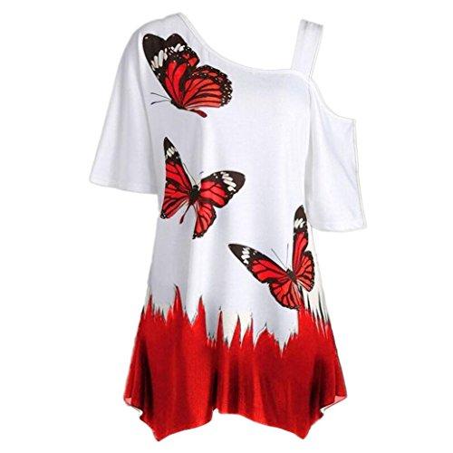 IMJONO.Große Größe Frauen Schmetterling Druck T-Shirt Kurzarm Casual Tops Bluse(Rot,X-Large)