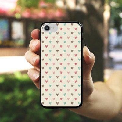 Apple iPhone X Silikon Hülle Case Schutzhülle Herz Retro Muster Liebe Hard Case schwarz